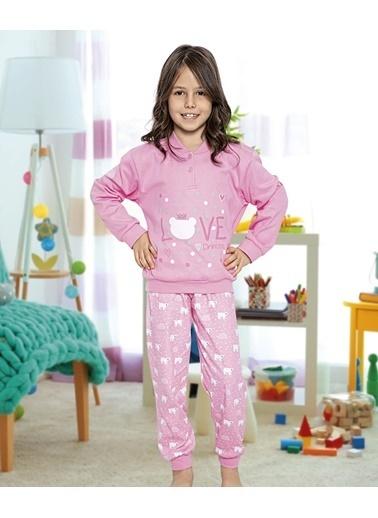 Aydoğan Kız Çocuk İnterlok Pembe Uzun Kollu Pijama Takımı Renkli
